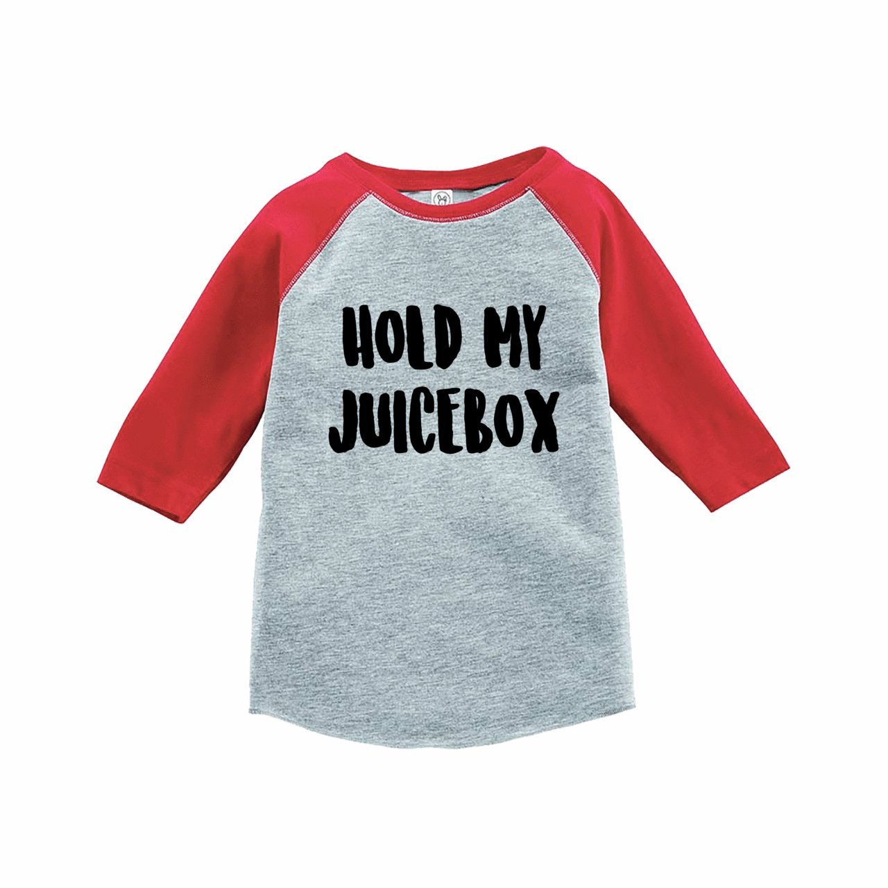 7 ate 9 Apparel Funny Kids Hold My Juicebox Baseball Tee Red