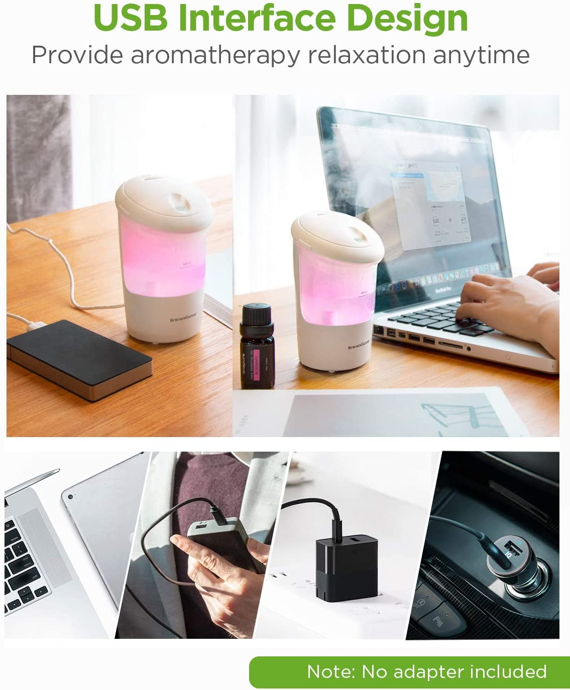 Black USB Essential Oil Diffuser Ultrasonic Car Humidifier Aromatherapy Diffusers with Intermittent//Continuous Mist for Office Travel Home Vehicle InnoGear Car Diffuser