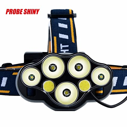Linterna frontal EUzeo max 25000 lumens 5x XM-L T6 LED+ 2xCOB LED Rechargeable Headlamp 4 modelos 18650 Bombillas ...