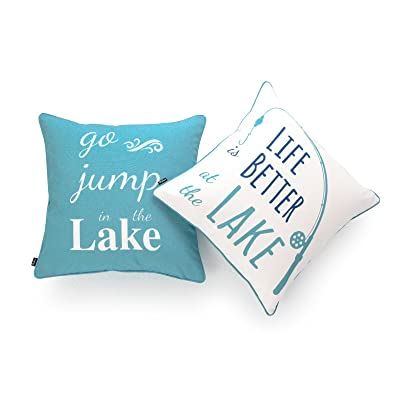 """Hofdeco Lake House Indoor Outdoor Pillow Cover ONLY, Water Resistant for Patio Lounge Sofa, Aqua Navy White Life Better Go Jump in Lake, 18""""x18"""", Set of 2 : Garden & Outdoor"""