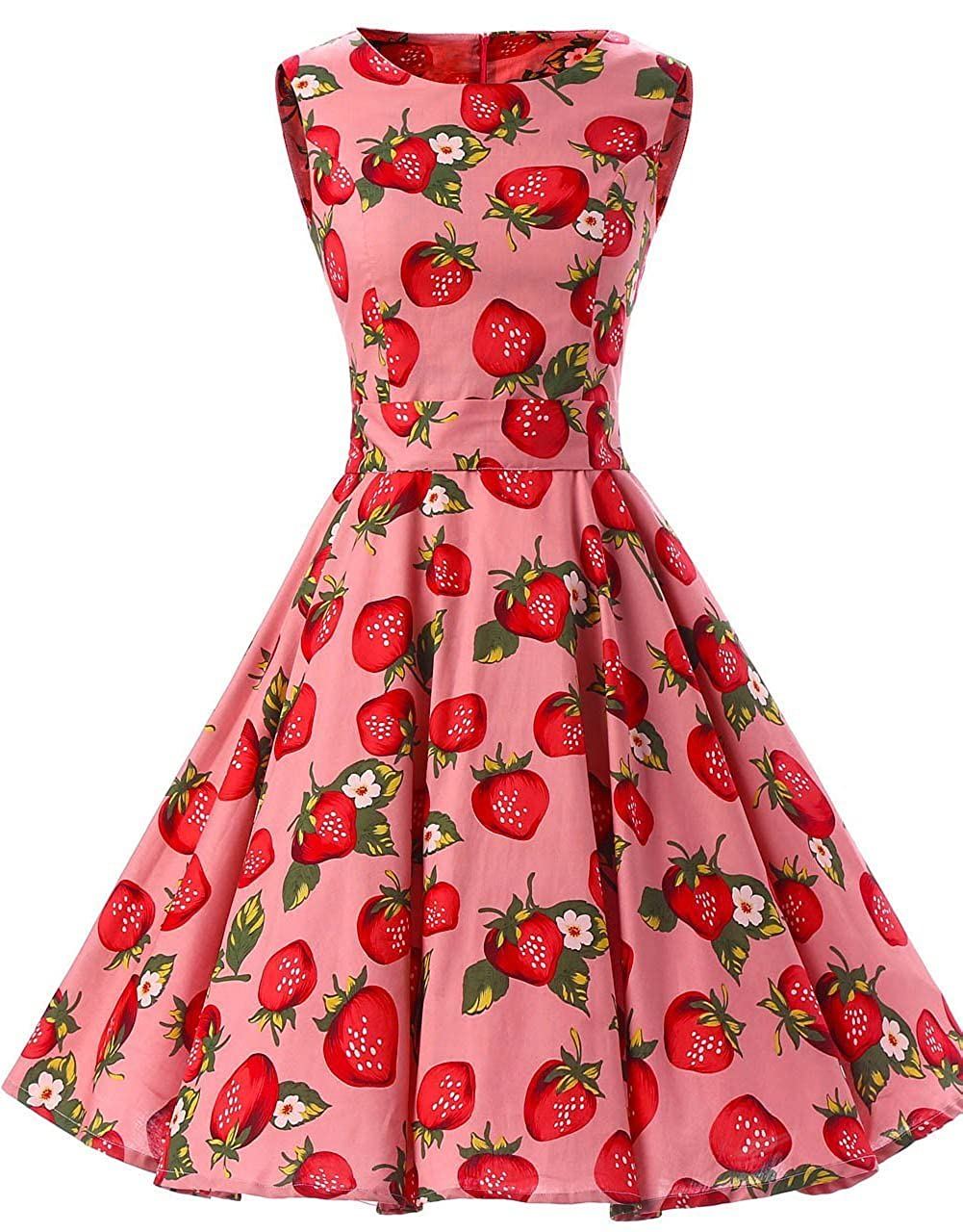 Ensnovo Womens Vintage 1950s Sleeveless Retro Floral Print Rockabilly Swing Dress 66-05-1005
