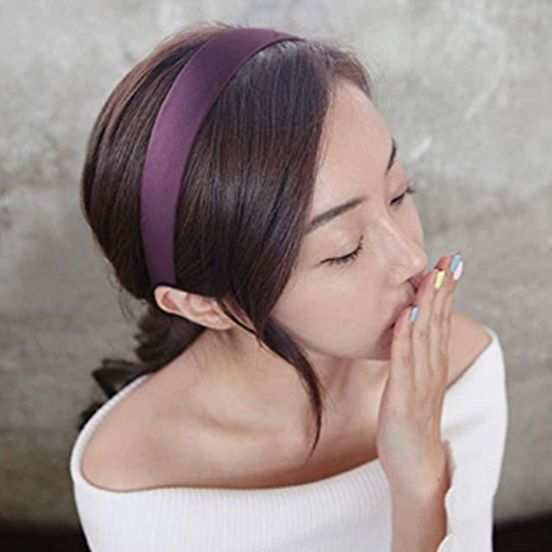IDIFU 12 pi/èces Bandeaux Serre-t/êtes Satin Largeur de 2.5cm Non-slip Headbands Accessoire de Cheveux Pour Femme 8 couleurs m/élang/ées