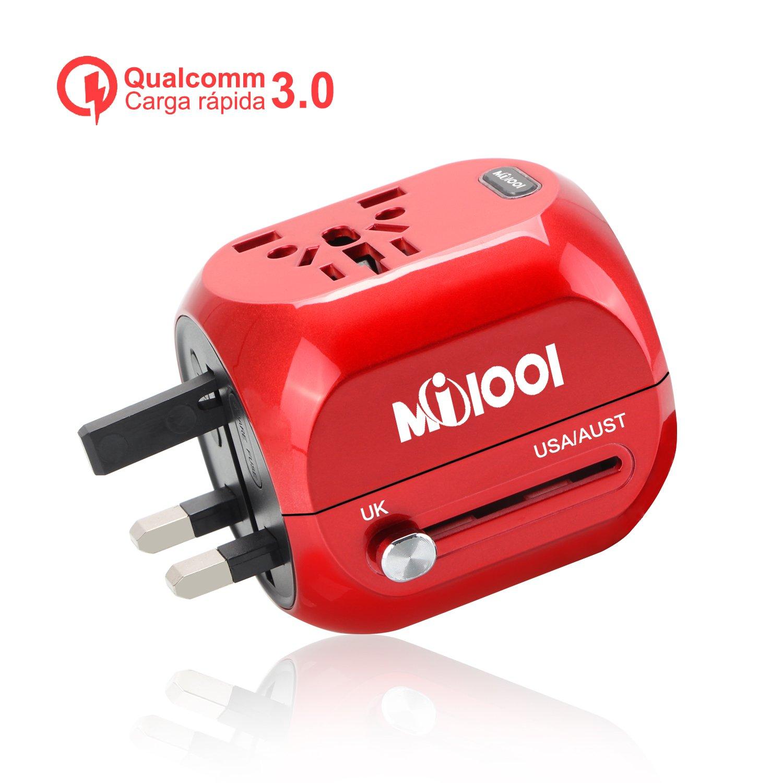 Quick Charge 3.0 Asia Adaptador Enchufe,Adaptador de Viaje Enchufe Universal Carga r/ápida 3.0 Puerta Seguridad de Doble fusibles para Navidad EEUU US,UK Acerca de 150 Pa/íses Carmes/í Uppel AU