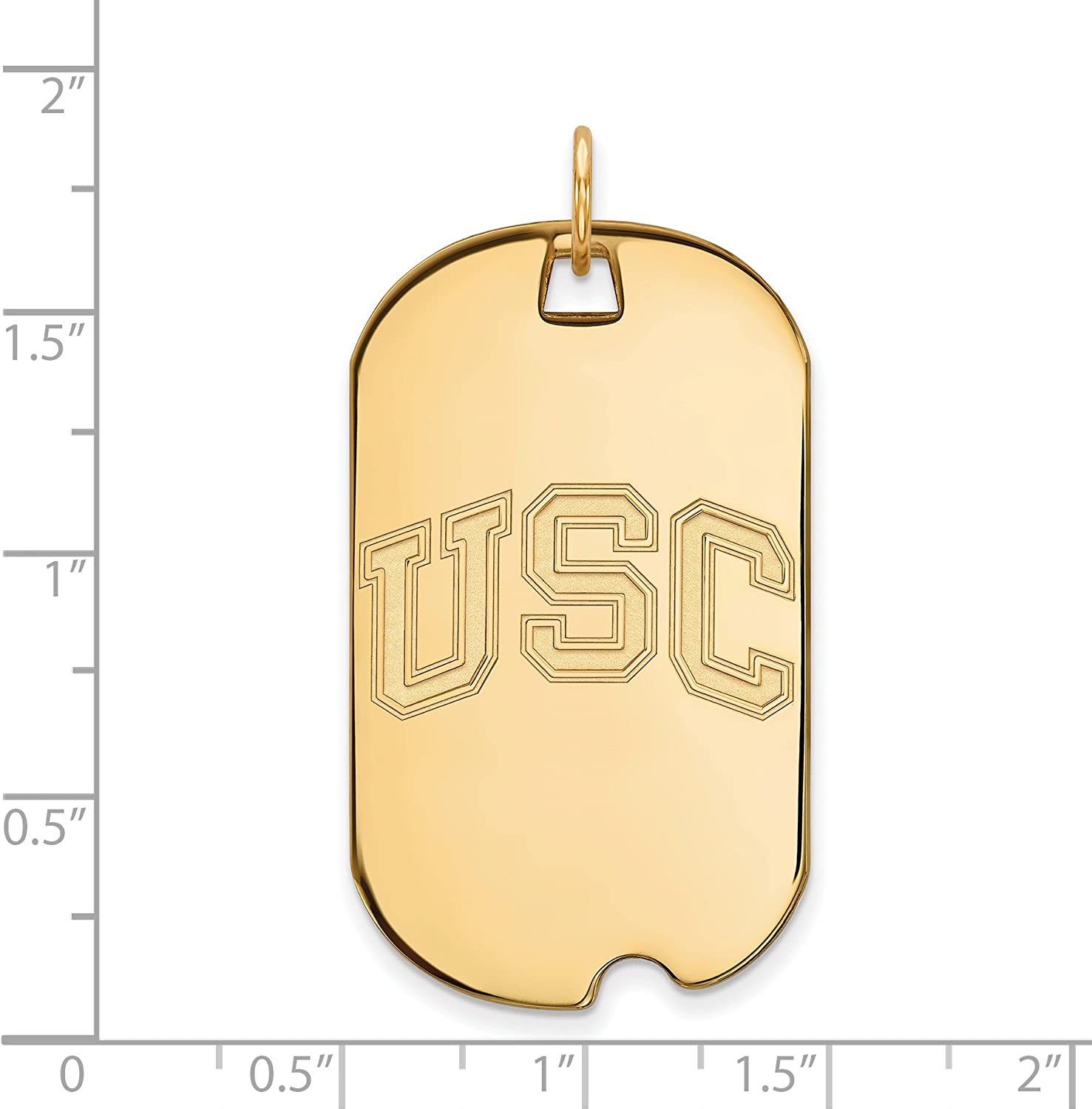 University of Southern California Trojans USC School Letters Dog Tag Pendant in Gold Plated Silver 40x24mm