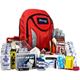 Complete Earthquake Bag for 2 people for 3 days - Most popular emergency kit for earthquakes, hurricanes, floods + other disasters (Emergency food, water, shelter, hand-crank phone charger)
