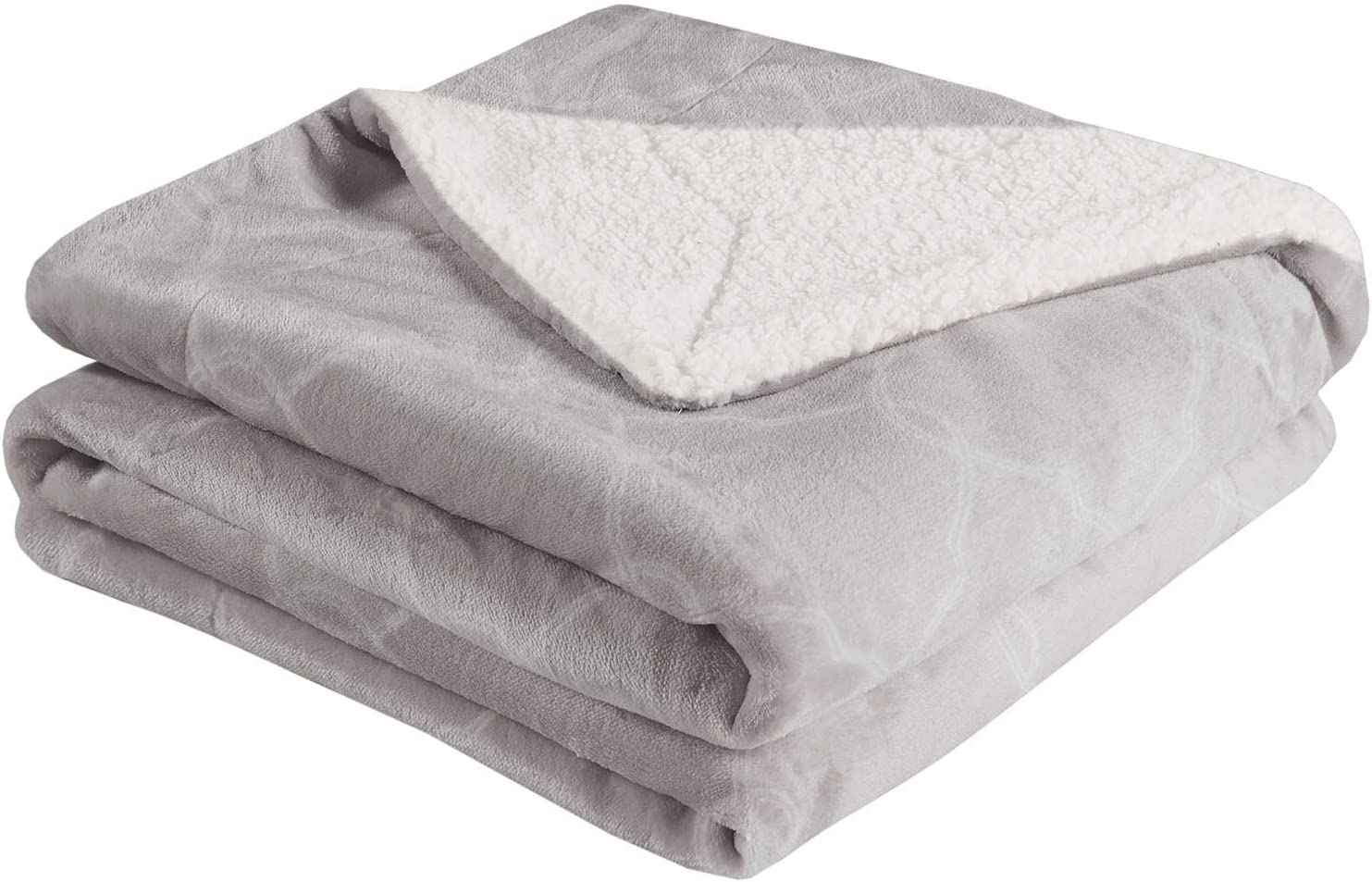MP2 Cozy Fleece Sherpa Blanket Throw - Fuzzy Plush Flannel Blanket for Sofa, Couch, Bed, Travel - 50x60 Inches, Grey Ogee