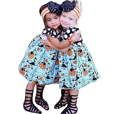 ZJENE Cute Kids Baby Girls Halloween Pumpkin Cartoon Princess Dress Outfits Clothes (90 Blue  sc 1 st  Amazon UK & ZJENE Cute Kids Baby Girls Halloween Pumpkin Cartoon Princess Dress ...