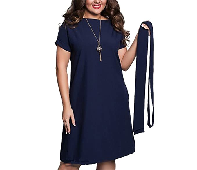 0483b23c88a57 Image Unavailable. Image not available for. Color: COOCOl New Stylish  Casual Women Dresses Large Size Women's Summer Mini Dresses Short Sleeve  Dress Navy