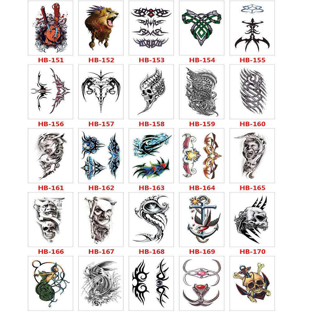 Tattoo Body Sticker Hand Neck Wrist Art colourful Arm Chest Shoulder 50 Sheets Fake Black Tiny Temporary Tattoos Stickers Tattoos for Men woman girl-2
