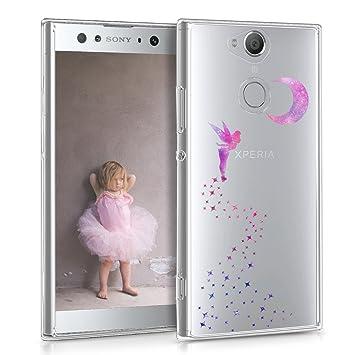 kwmobile Funda para Sony Xperia XA2 Ultra - Carcasa de TPU para móvil y diseño de hada en rosa fucsia / violeta / transparente