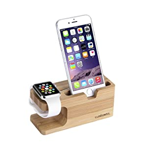 Apple Watch Stand, Luxebell iWatch Bamboo Wood Charging Stand Charger Dock Station Cradle Holder for 38mm 42mm & iPhone 7 7 Plus 6 Plus 6s Plus 5s 5 and Other Smartphones