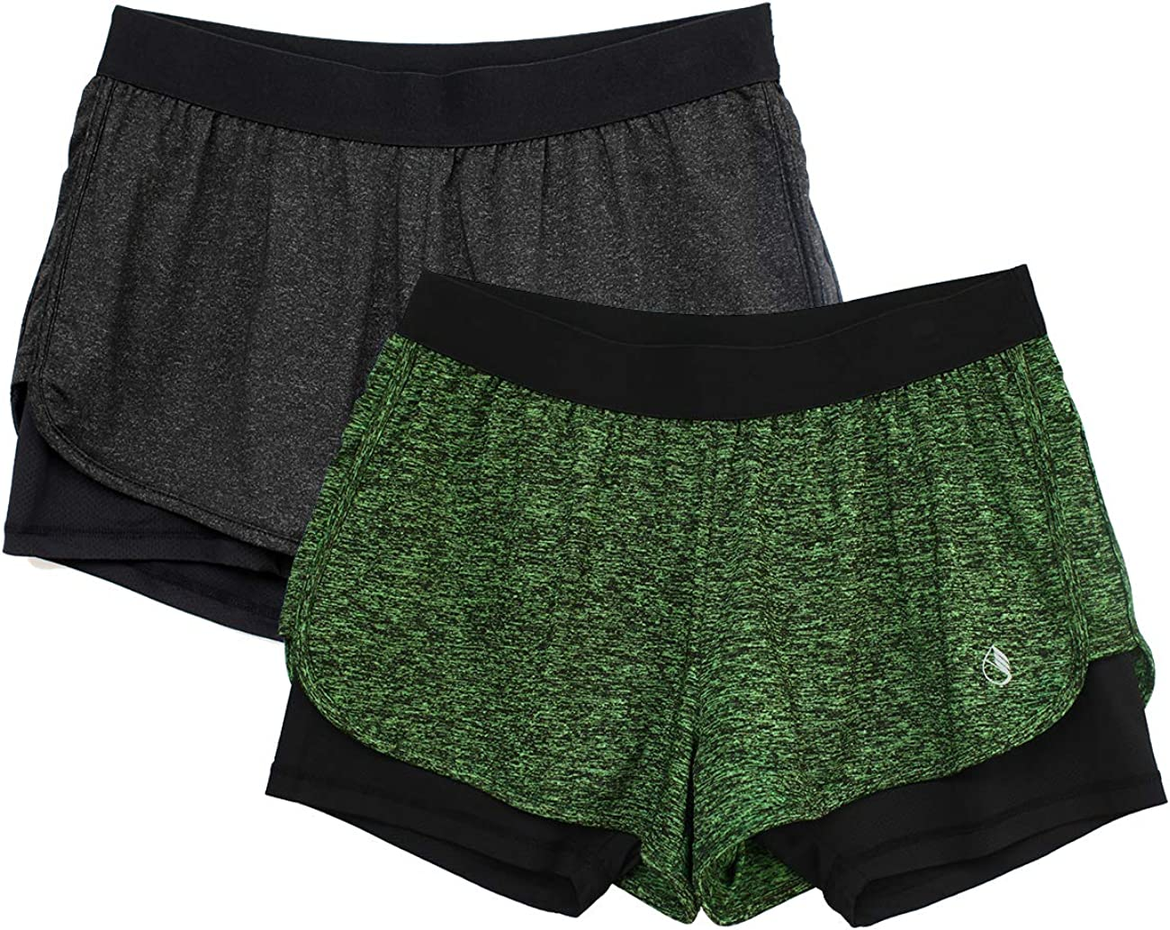 icyzone 2 en 1 Pantalón Corto para Mujer para Correr, Pack de 2