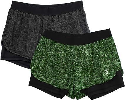 icyzone 2 en 1 Pantalones Cortos para Deportivo Yoga para Mujer