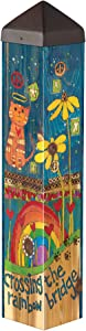 Studio M Rainbow Bridge Cat Art Pole Outdoor Decorative Garden Post, Made in USA, 20 Inches Tall