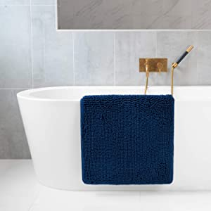 "Tafts Ultra Soft Luxury Bath Mat, Bathroom Rugs, Chenille Microfiber, Absorbent Non-Slip Machine Washable, Bathroom Decor, Super Plush Bath Mats for Bathroom, Shower & Tub, 21""x32"", Navy Blue"