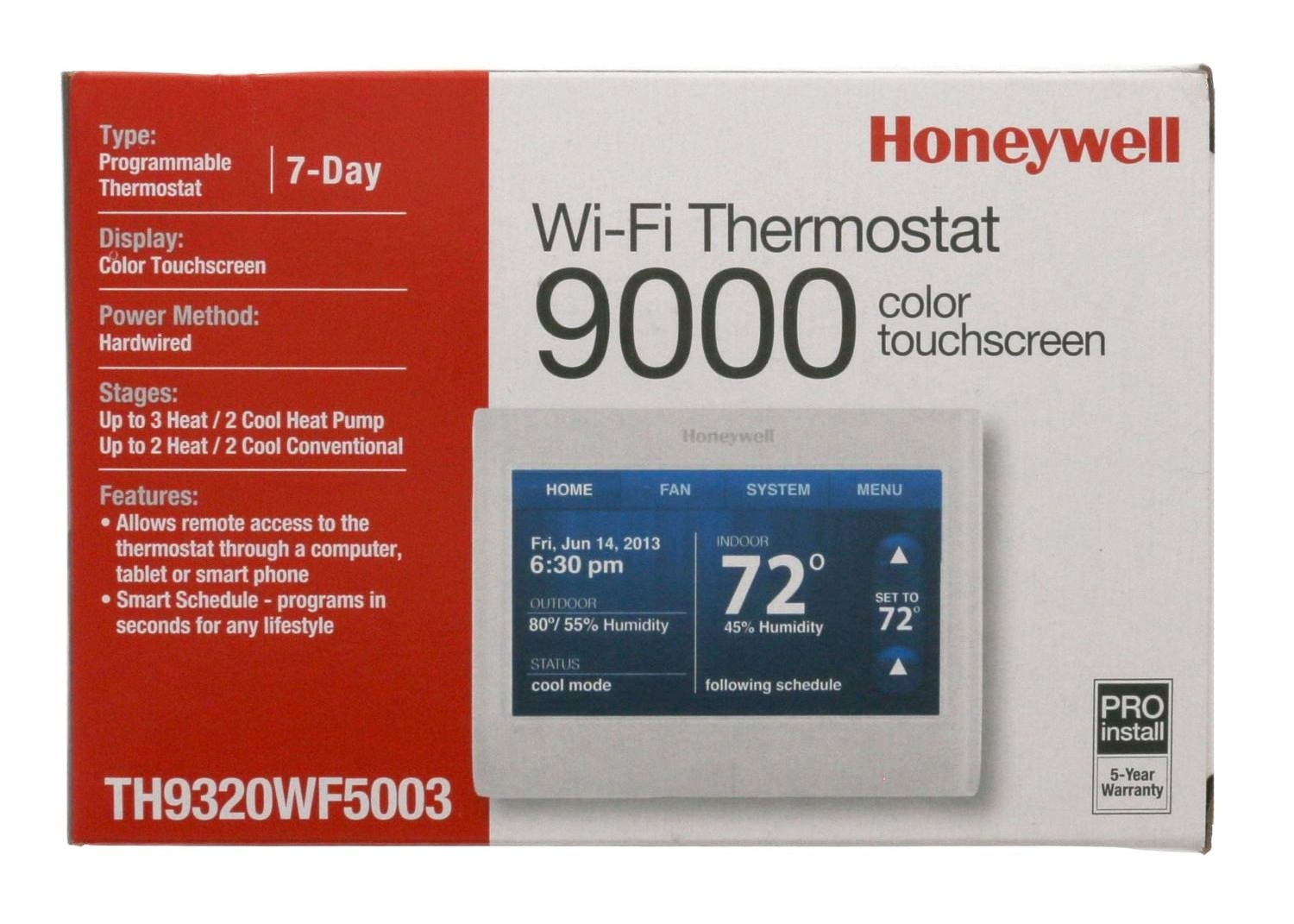 Honeywell TH9320WF5003 WiFi 9000 Color Touchscreen Thermostat, Works with  Alexa - Programmable Household Thermostats - Amazon.com