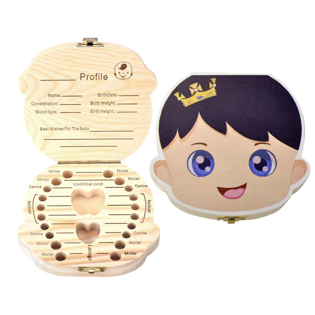 Mogoko Cute Print Baby Tooth Box, Wooden Milk Teeth Storage Case Lost Tooth Organizer for Boy (English, Prince)