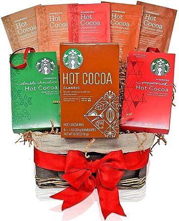 Family Christmas Gift Baskets.Starbucks Christmas Hot Cocoa Variety Decorative Gift Basket 7 Popular Christmas Flavors