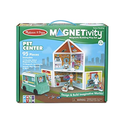 Melissa & Doug Magneticity Magnetic Tiles Building Play Set – Pet Center with Rescue Vehicle (95 Pieces, STEM Toy): Toys & Games