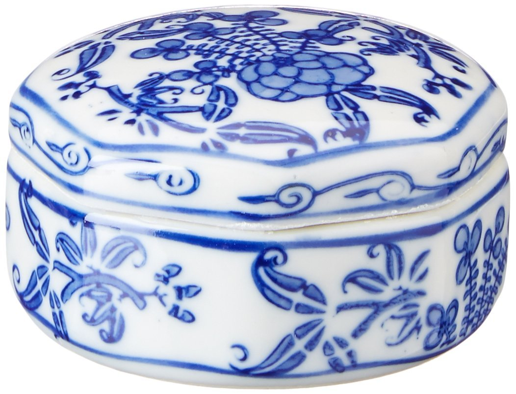 Oriental Furniture Floral 3-Inch Porcelain Jewelry Box, Small, Blue/White BW-JEWEL5