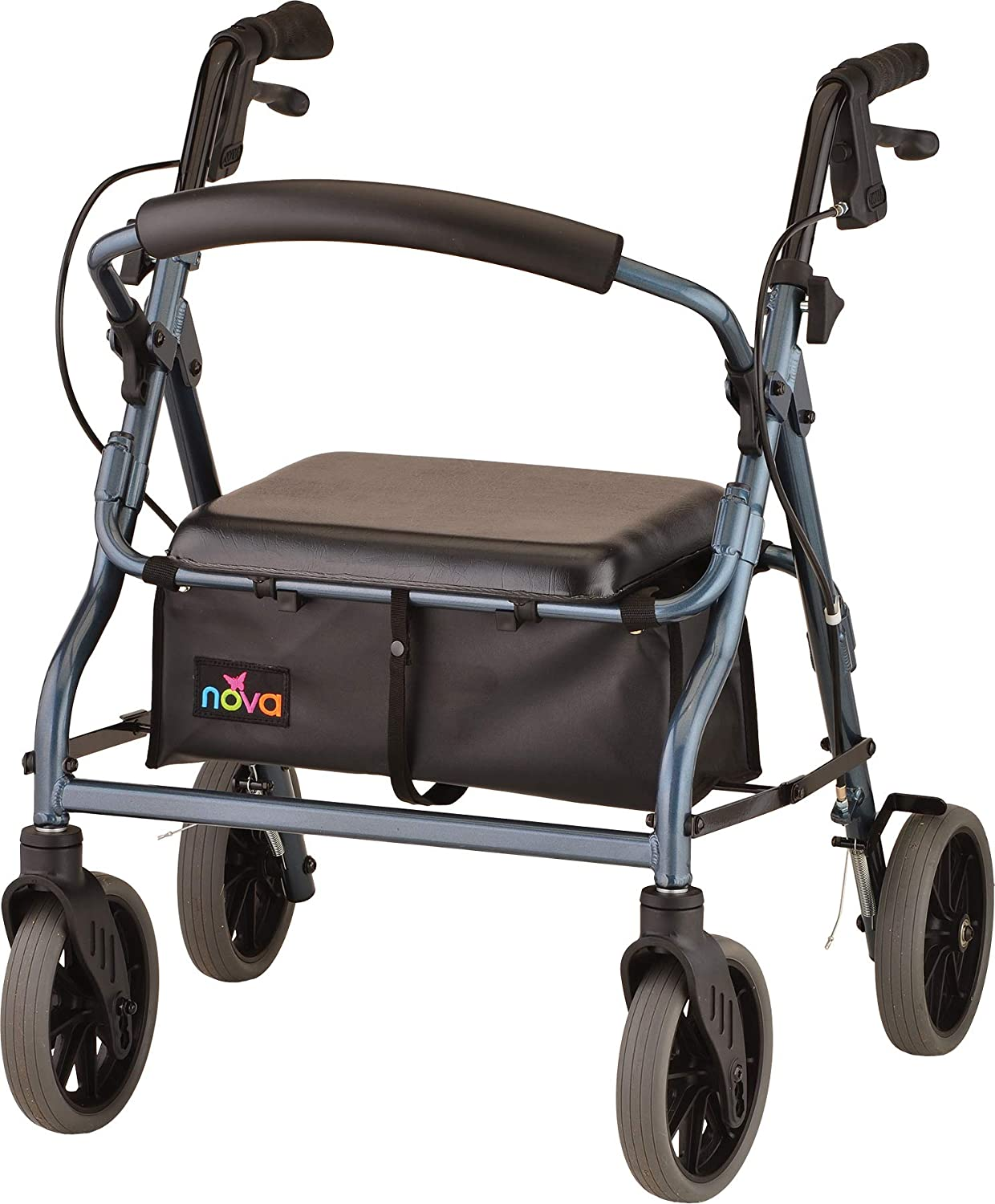 "NOVA Zoom Rollator Walker with 18"" Seat Height, Blue: Health & Personal Care"