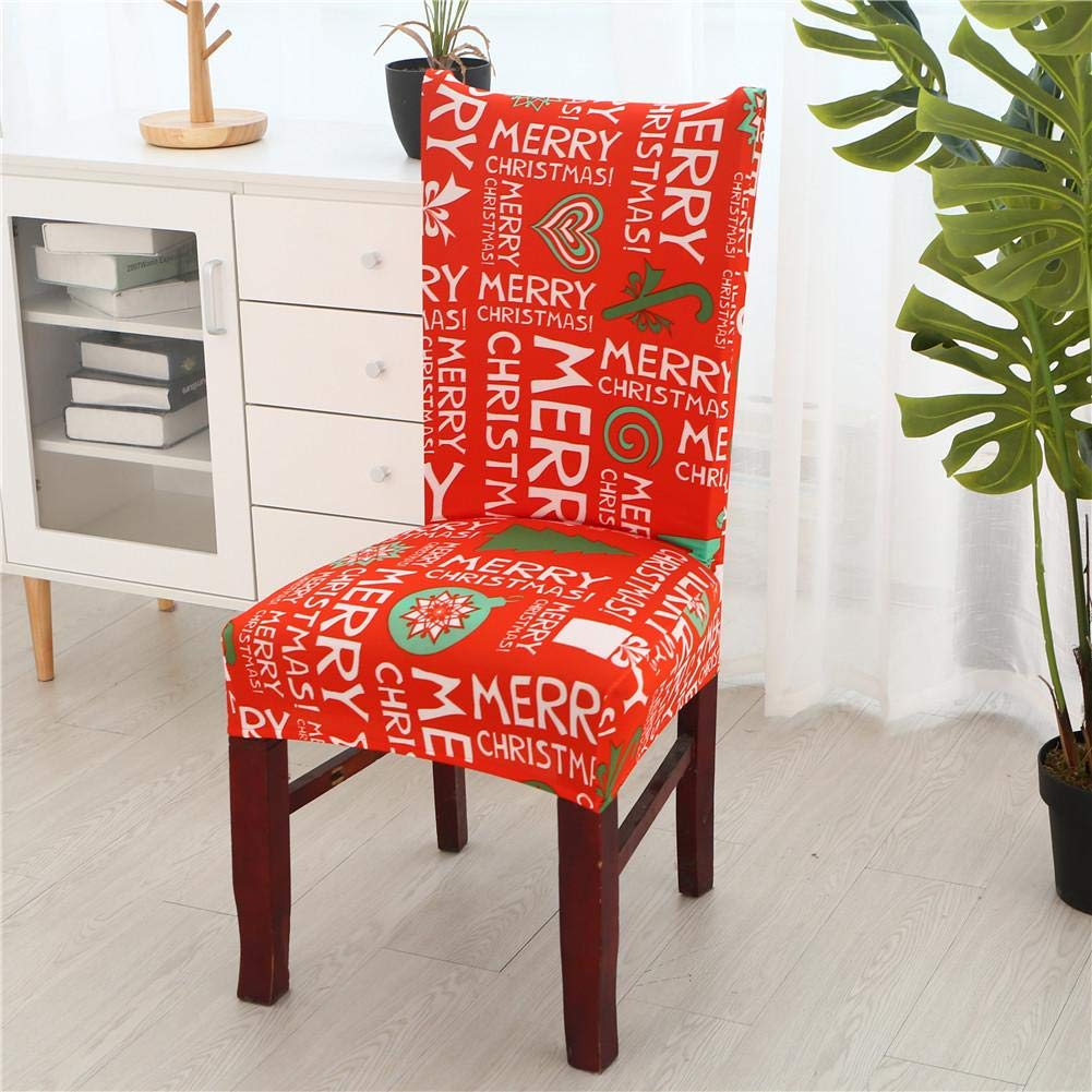 Christmas Chair Slipcover Decoration Dining Chair Cover Chair Slipcovers High Stretch Banquet Chair Protector Removable Chair Protective Covers for Dining Room, Hotel, Banquet, Ceremony AITOCO