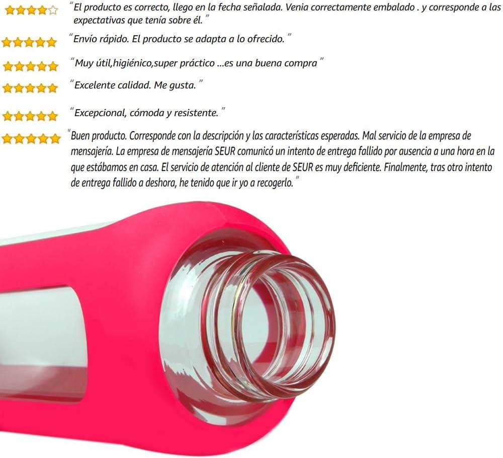 SLOSH Botella Cristal Agua Silicona Deporte Vidrio Viaje Deportiva ...