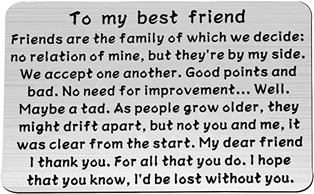 Amazon.com: bobauna Friendship Wallet Card Insert to My Best Friend Friends  are The Family of Which We Decide No Relation of Mine But They're by My  Side (Best Friend Wallet Card): Jewelry