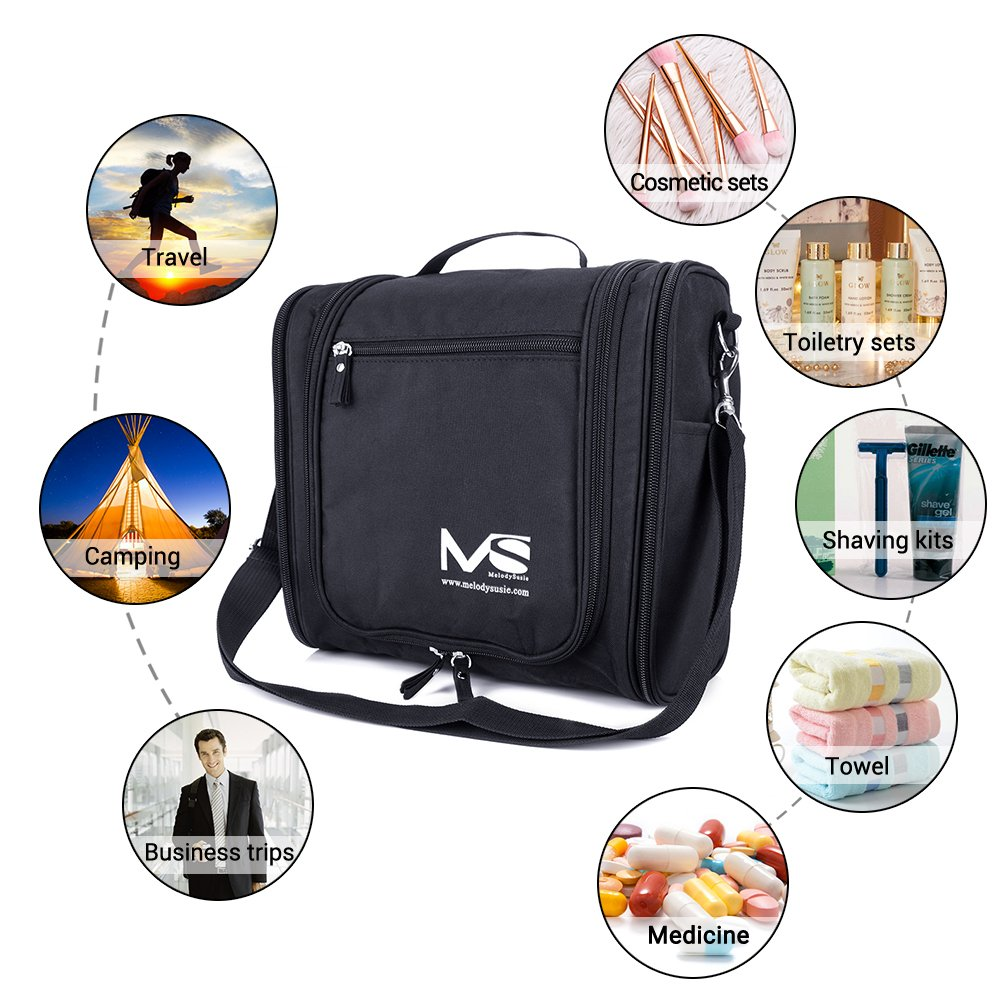 Large Hanging Travel Toiletry Bag - MelodySusie Heavy Duty Waterproof Makeup Organizer Bag Shaving Kit Toiletry Bag for Travel Accessories, Shampoo, Cosmetic, Personal Items by MelodySusie (Image #8)
