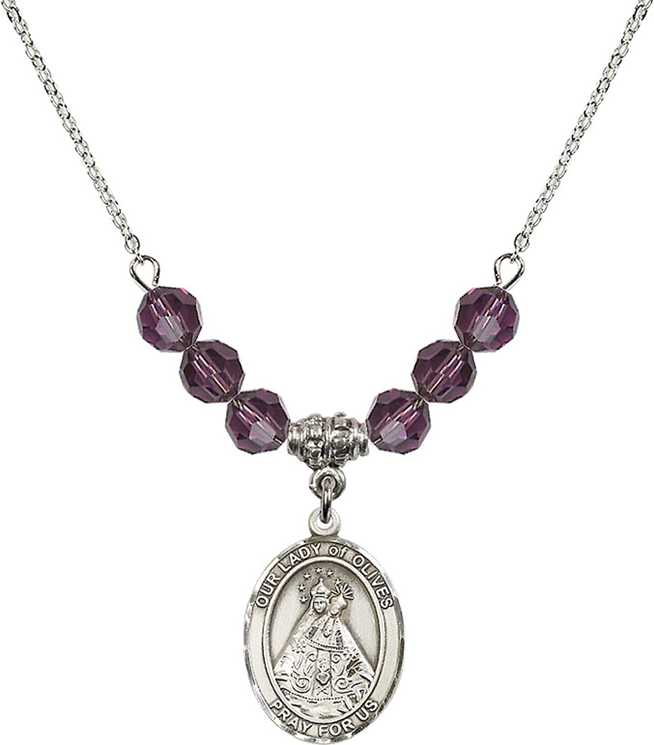 Bonyak Jewelry 18 Inch Rhodium Plated Necklace w// 6mm Purple February Birth Month Stone Beads and Our Lady of Olives Charm