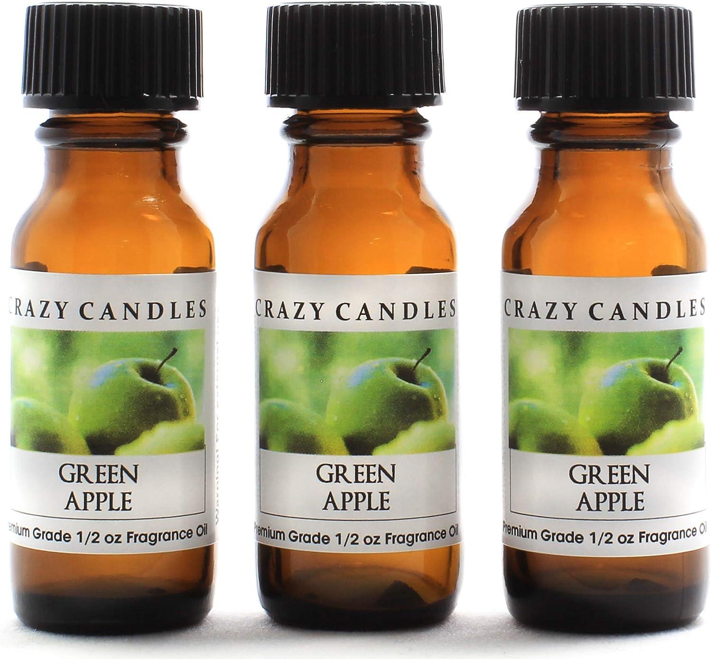 Crazy Candles Green Apple 3 Bottles 1/2 FL Oz Each (15ml) Premium Grade Scented Fragrance Oil