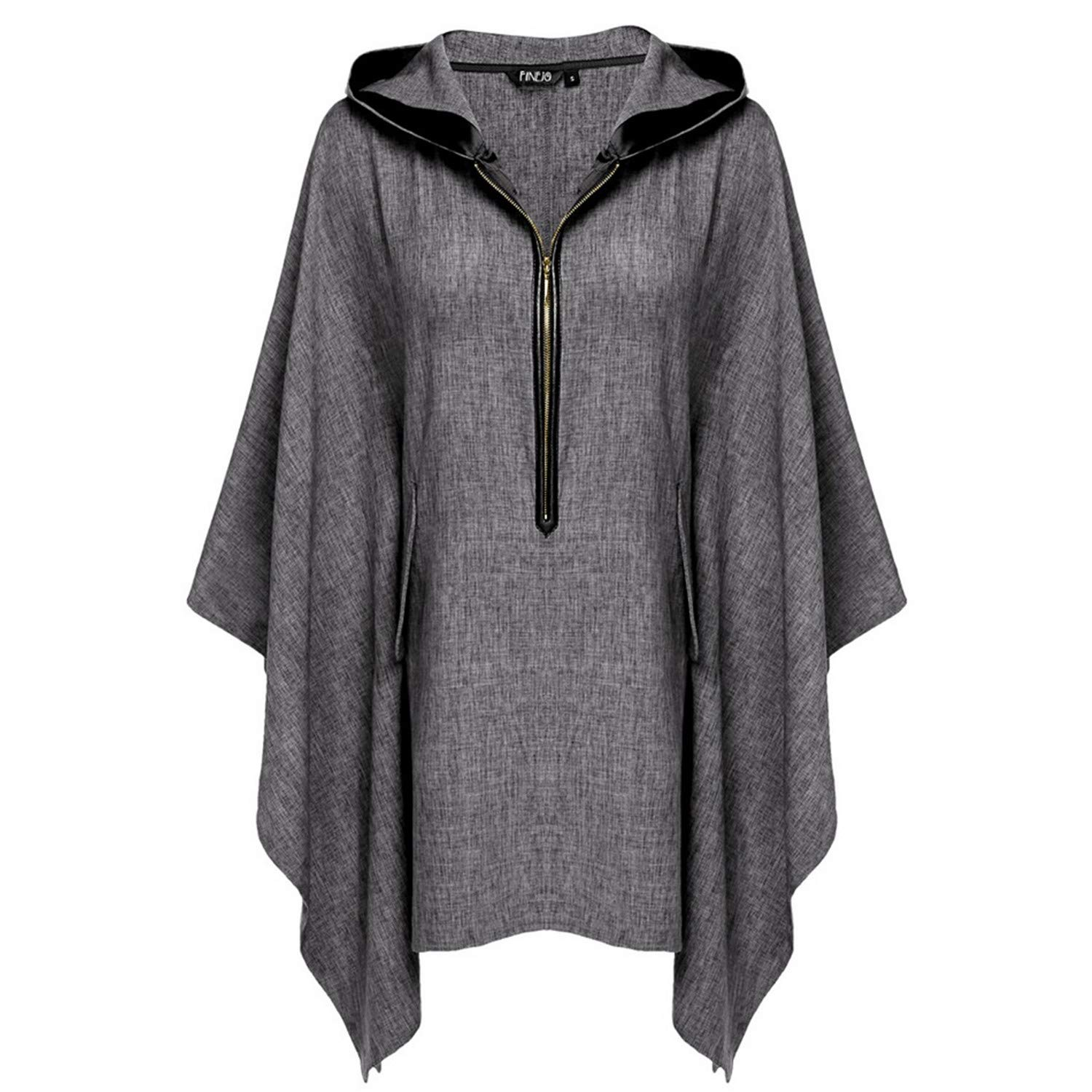 Kongsta Women Fashion Casual Loose Hooded 3 4 Raglan Sleeve Zip Up Pullover  Solid Cape Outwear at Amazon Women s Clothing store  692a19954
