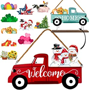 Winder Truck Welcome Sign & Home Sign, 2-Side Red Truck Christmas Decor Signs with 10 Pcs Icons for Front Door, Holiday, Fall, Christmas, Harvest,Halloween, Seasonal and Interchangeable Wall Hanging