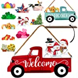 Winder Truck Welcome Sign & Home Sign, 2-Side Red Truck Christmas Decor Signs with 10 Pcs Icons for Front Door, Holiday…