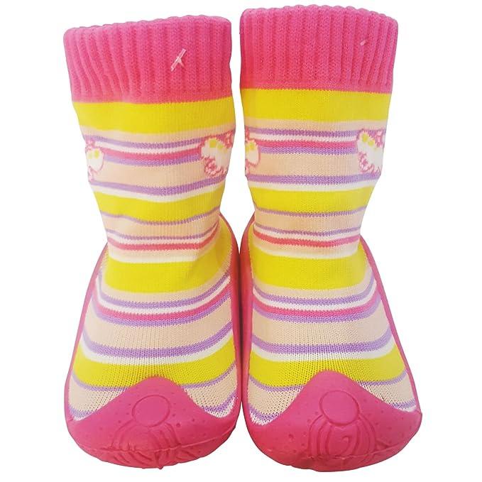 C2BB - Calcetines con suela antideslizante para niñas | Rosa mariposa - Talla: 24