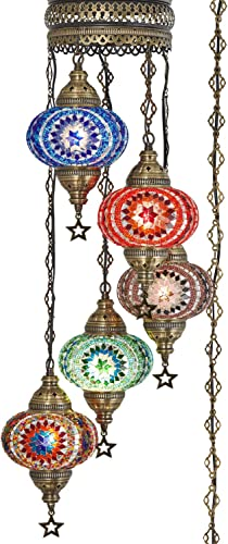 DEMMEX Turkish Moroccan Mosaic Plug in Swag Pendant Lamp Light Fixture Plugged Chandelier, US Plug with 15feet Chain – Customizable Colors 6.5 X 5 Globe Chandelier