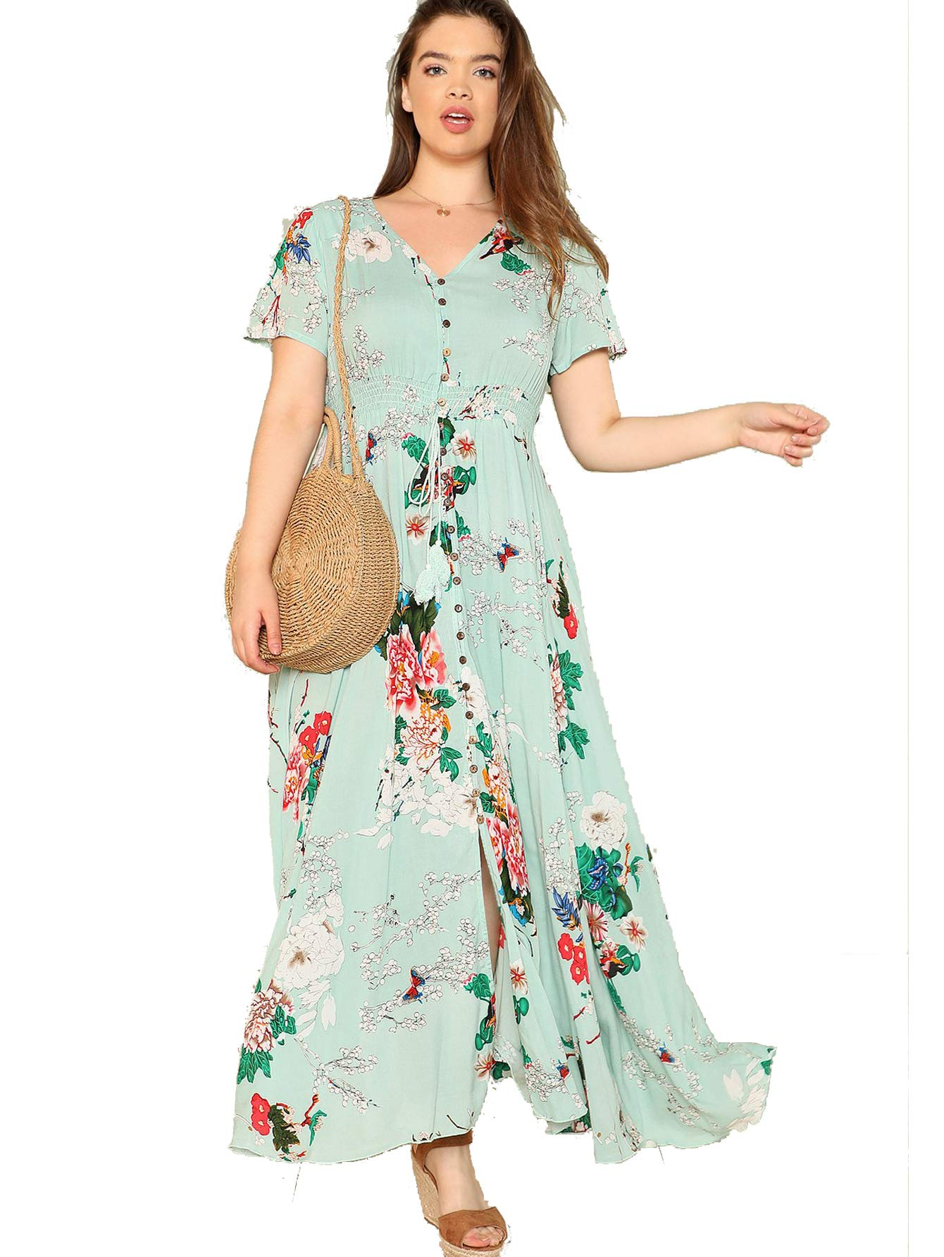 Milumia Plus Size Button Down Homecoming Maxi Dress Party Floral Printed Boho Oversized Dress Evening Prom Dress 1XL