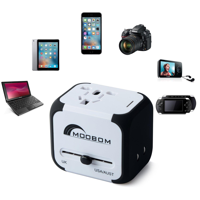 Moobom Universale Portatile Power Connettore Adattatore da viaggio (US UK EU AU) Ladestecker multinazionale con porta Max 2.4A doppia USB e fusibile AC-in caricabatterie (bianco)