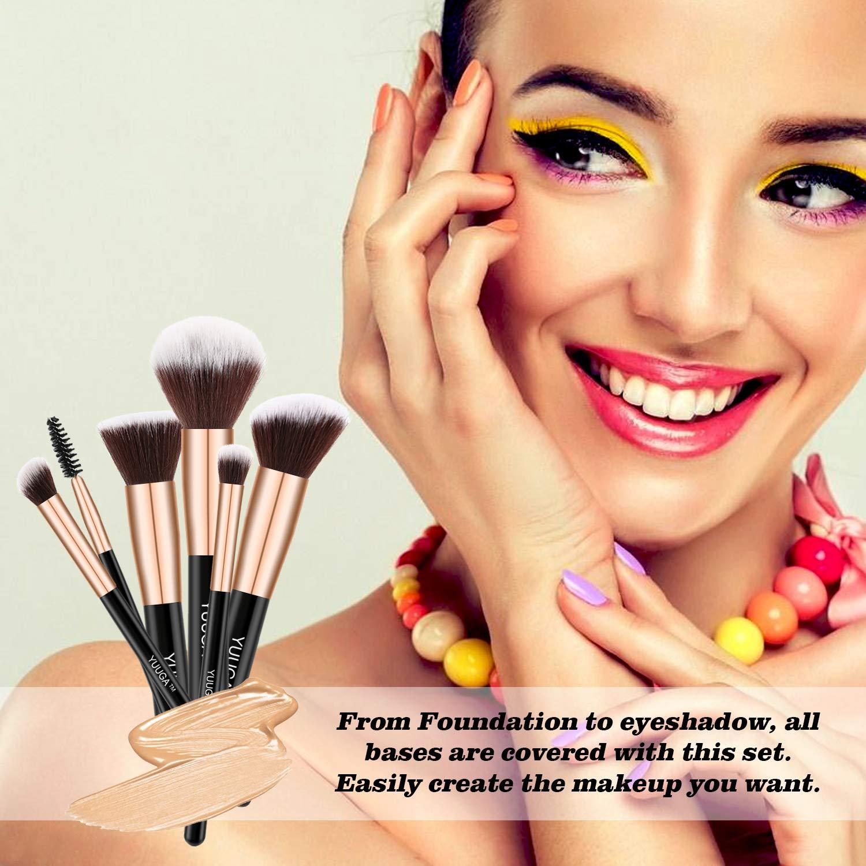 Makeup Brush Set YUUGA 16Pcs Premium Synthetic Foundation Brush Blending Face Powder Blush