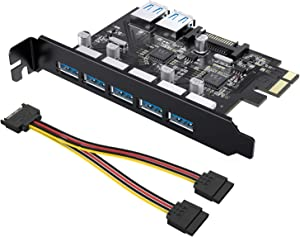 Tiergrade Superspeed 7 Ports PCI-E to USB 3.0 Expasion Card with 15-Pin SATA Power Connector - PCI Express(PCIe) Expansion Card USB Card for Desktop PC Support Windows 10/8.1/8/7/XP
