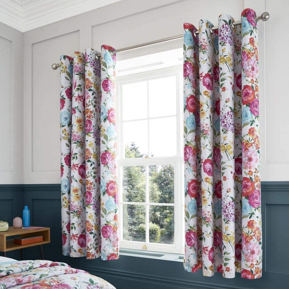 Catherine Lansfield Salisbury Easy Care Blackout Eyelet Curtains Multi 66x72 Inch