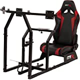 GTR Racing Simulator GTAF-BLK-S105LBKRD - GTA-F Model (Black) Triple or Single Monitor Stand with Black/Red Adjustable Leatherette Seat, Racing Simulator Cockpit gaming chair Single Monitor Stand