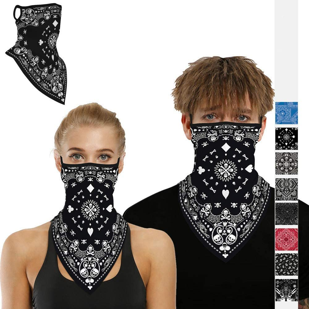 Muryobao Men Women Face Scarf Bandana Ear Loops Stylish Face Balaclava Neck Gaiters for Dust Wind Motorcycle Outdoors Leopard28