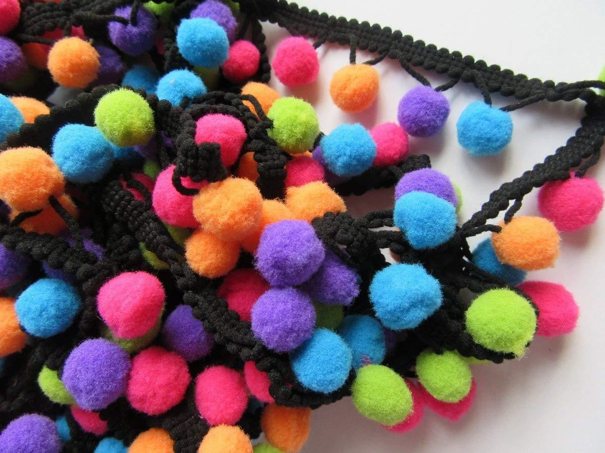 YYCRAFT Multicolor Pom Pom Ball fringe Trim Ribbon Sewing Multicolor 5 Yards