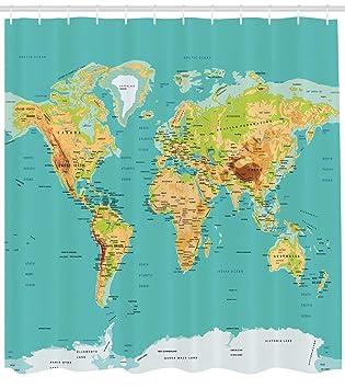 Karte Kontinente Welt.Karte Vorhang Fur Die Dusche Von Ambesonne Karte Der Welt