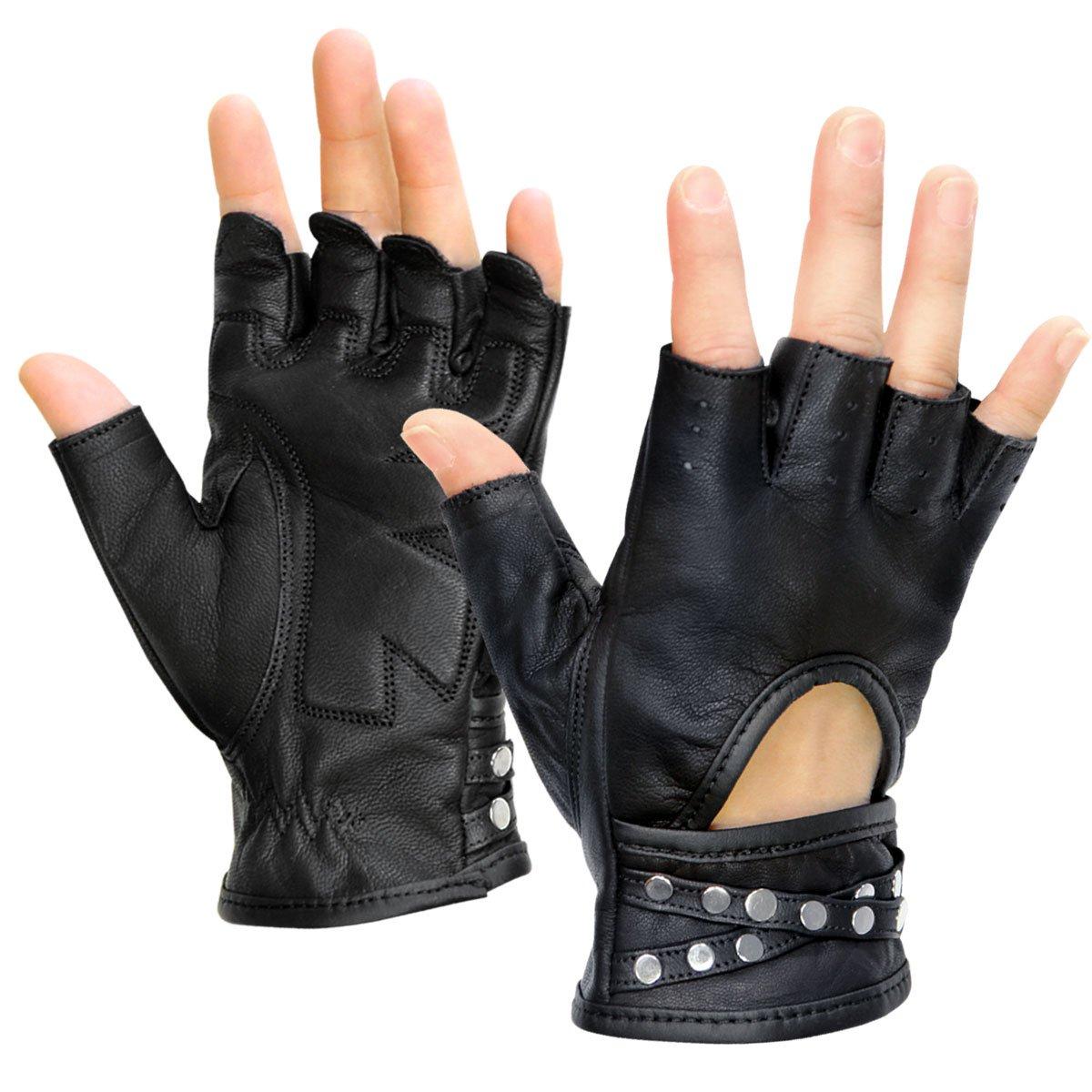 Xelement XG461 Idol Womens Black Fingerless Leather Gloves - Medium