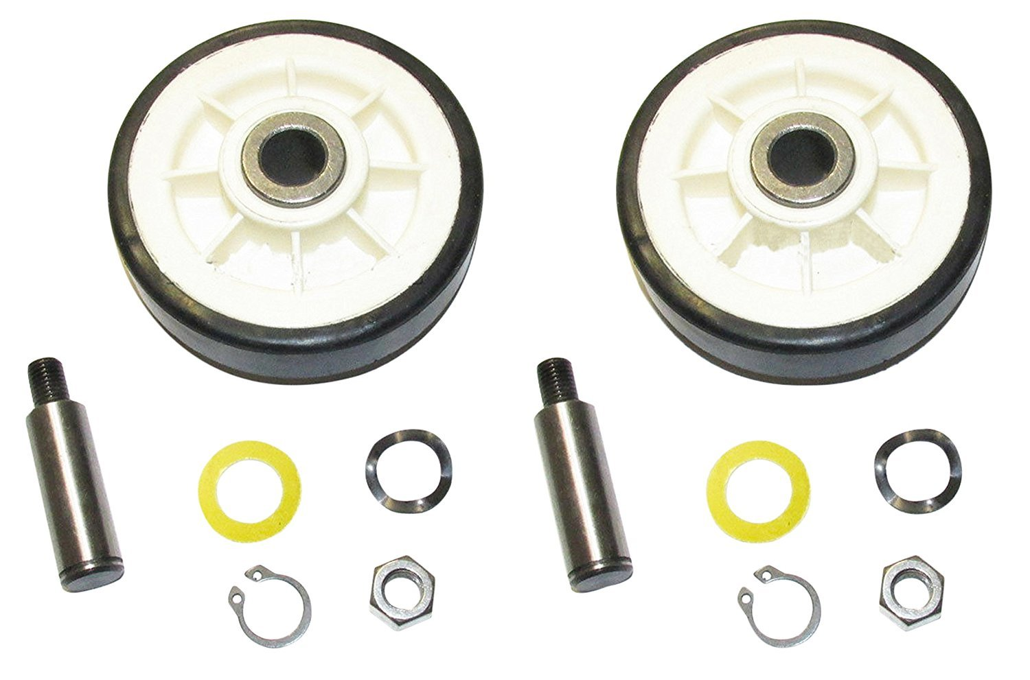 303373 Dryer Drum Roller & Shaft Kit (Set of 2) Replacement For Maytag, Jenn-Air, Crosley, Whirlpool, Kenmore Dryers