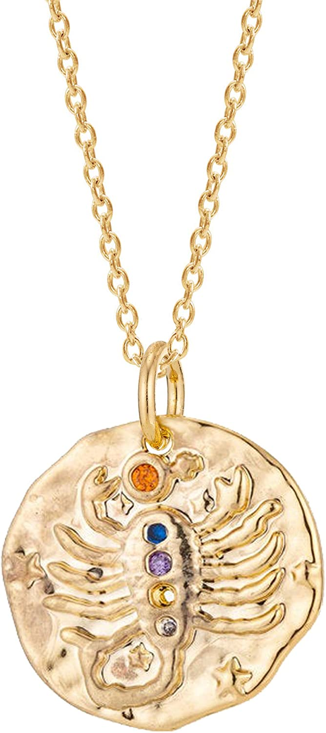 Zodiac Coin Necklace Astrology Jewelry Gift Boxed Horoscope Necklace Zodiac Sign Disc Necklace Dainty Zodiac Necklace inBLISS 18k Gold Filled Zodiac Constellation Necklace