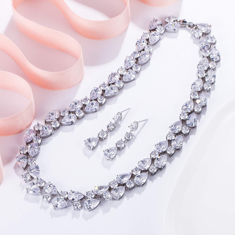 Ever Faith Damen Zirkonia Party 2 Schichten Teardrop Halskette Ohrringe Set