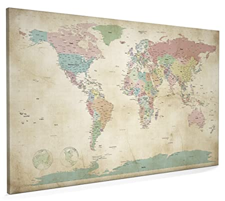 Map Of The World Antique Style Canvas Art Print X Inch A - Map of the world antique style